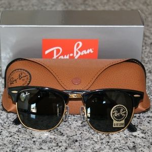 Ray-Ban Black/Gold Clubmasters New & Authentic